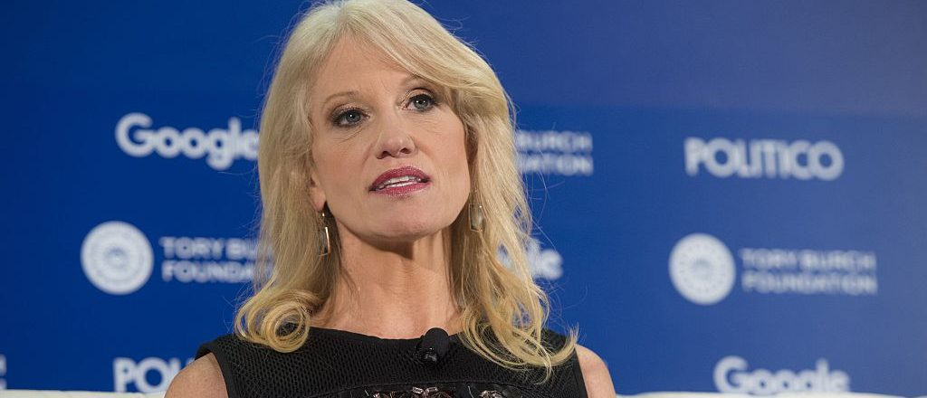 Kellyanne Conway, president and CEO of the Polling Company and the campaign manager of US President-elect Donald Trump's campaign, speaks during the 4th Annual Women Rule Summit in Washington, DC, December 7, 2016. / AFP / SAUL LOEB        (Photo credit should read SAUL LOEB/AFP/Getty Images)