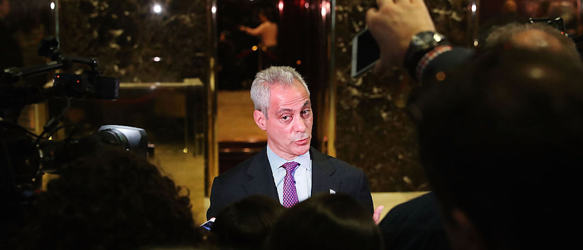 Chicago Mayor Rahm Emanuel speaks to the media after a meeting at Trump Tower on December 7, 2016 in New York City. (Photo by Spencer Platt/Getty Images)
