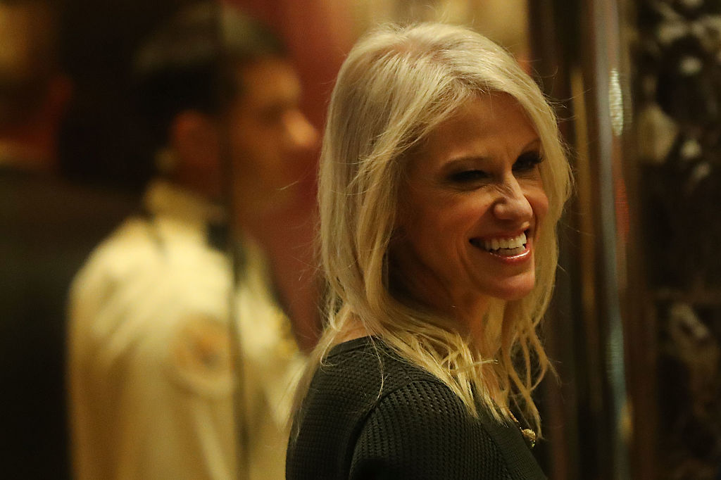 Kellyanne Conway walks into Trump Tower on December 12, 2016 (Getty Images)