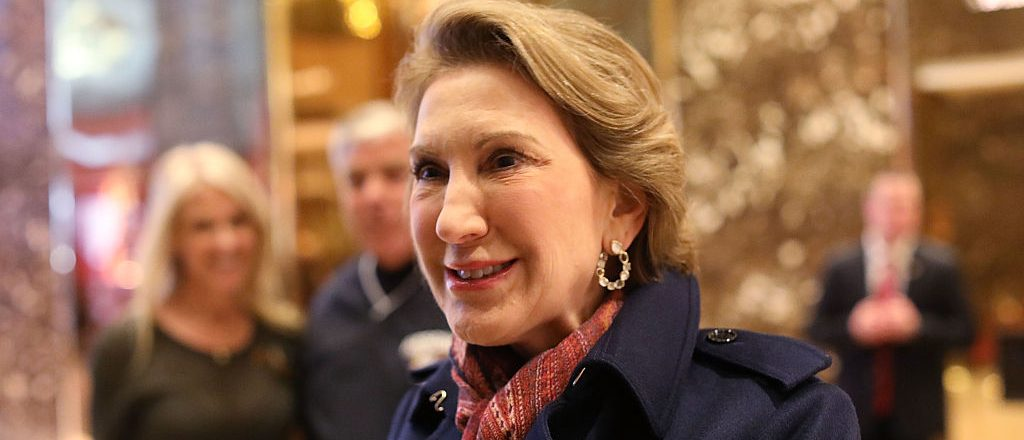 Former Republican presidential candidate Carly Fiorina speaks to the media after a meeting at Trump Tower on December 12, 2016 in New York City. (Photo by Spencer Platt/Getty Images)