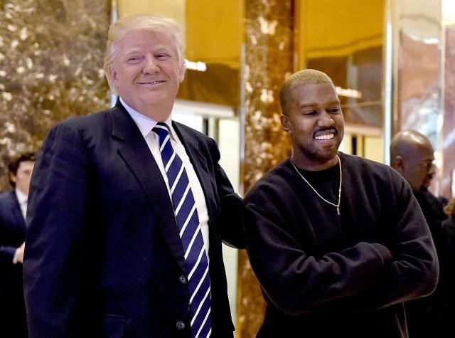 Singer Kanye West and President-elect Donald Trump arrive to speak with the press after their meetings at Trump Tower December 13, 2016 in New York. (TIMOTHY A. CLARY/AFP/Getty Images)