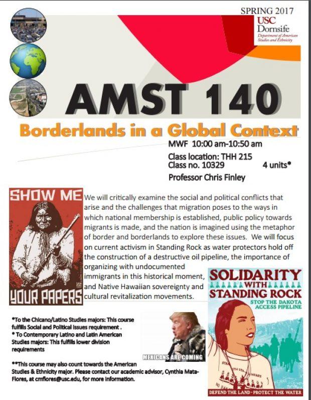 Flier for American studies class at USC. [Screengrab]