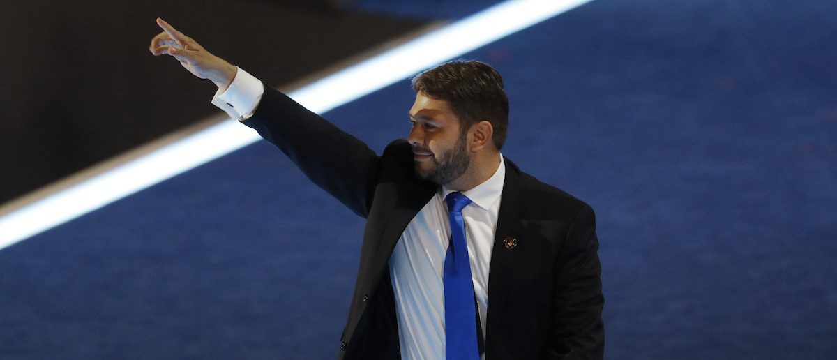 Representative Ruben Gallego (D-AZ) waves after addressing the Democratic National Convention in Philadelphia, Pennsylvania, U.S. July 27, 2016. REUTERS/Scott Audette - RTSJZDG