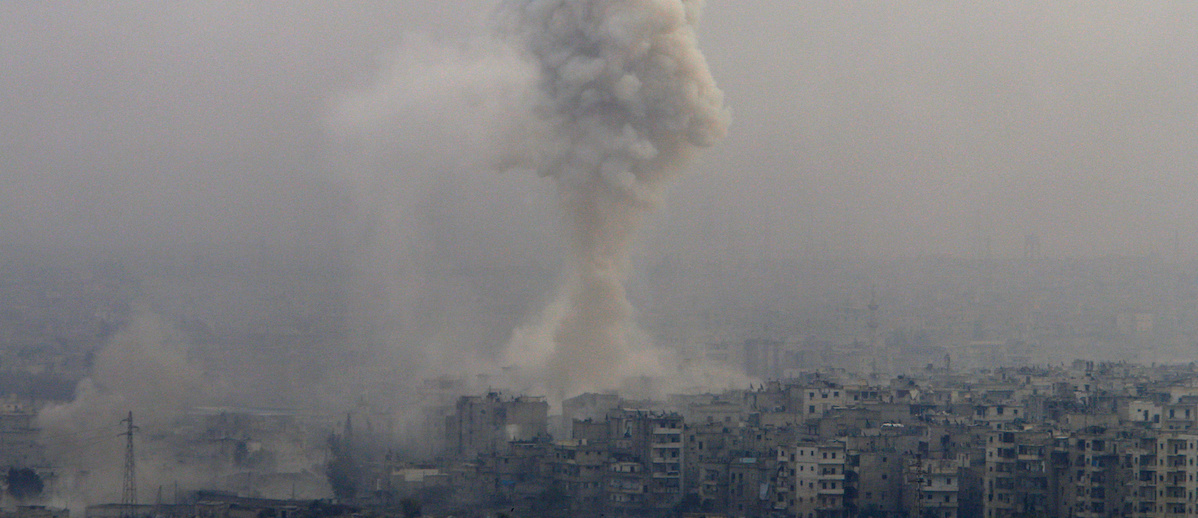 Smoke rises after air strikes on rebel-controlled besieged eastern Aleppo, Syria December 5, 2016. REUTERS/Omar Sanadiki
