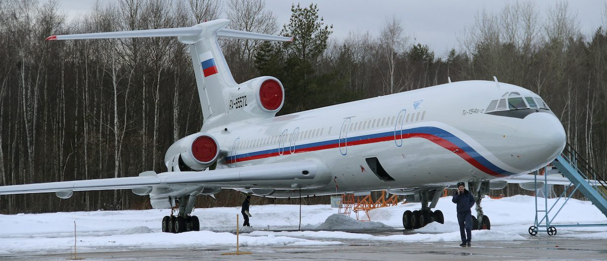 A Tupolev Tu-154 stands on the tarmac of the Chkalovsky military airport north of Moscow, Russia January 15, 2015. Picture taken January 15, 2015. REUTERS/Dmitry Petrochenko - RTX2WESB