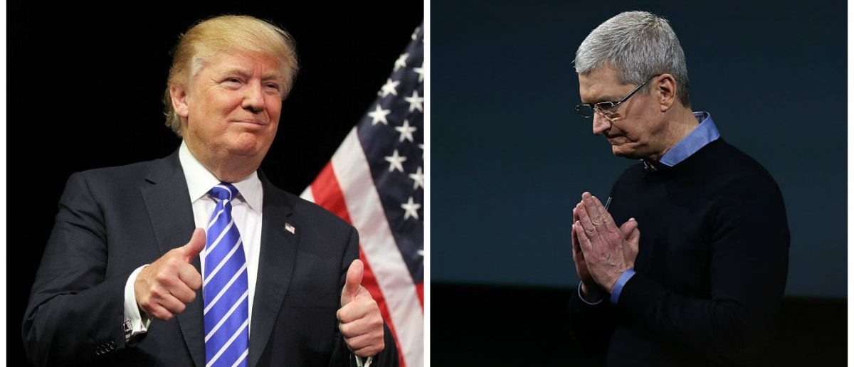 Left: LAS VEGAS, NV - OCTOBER 08: Republican presidential candidate Donald Trump attends a campaign rally at the Treasure Island Hotel & Casino. (Photo by Isaac Brekken/Getty Images) Right: CUPERTINO, CA - MARCH 21: Apple CEO Tim Cook speaks during an Apple special event at the Apple headquarters. (Photo by Justin Sullivan/Getty Images)