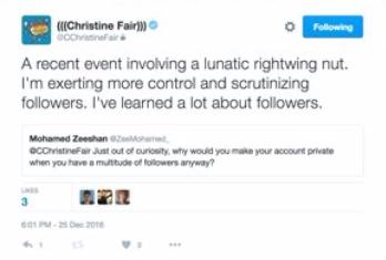 C. Christine Fair Twitter