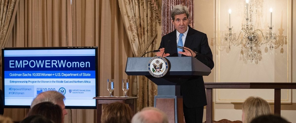 US Secretary of State John Kerry speaks at the inaugural Goldman Sachs 10,000 Women/US State Department Entrepreneurship Program for women in the Middle East and Northern Africa on March 9, 2015 at the State Department in Washington, DC. Nicholas Kamm/AFP/Getty Images.