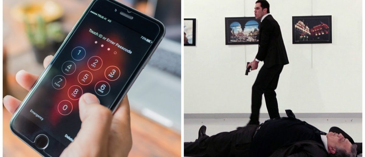 Left: Apple iPhone showing screen for entering the passcode. [Shutterstock - KP Photograph] Right: Andrei Karlov, the Russian ambassador to Ankara, lying on the floor after being shot by a gunman Mevlut Mert Altintas during an attack during a public event in Ankara. [Photo credit: HASIM KILIC/AFP/Getty Images]