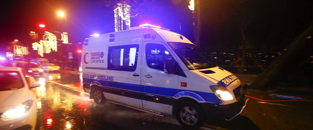 An ambulance arrives near a nightclub where a gun attack took place during a New Year party in Istanbul, Turkey, January 1, 2017. REUTERS/Osman Orsal.