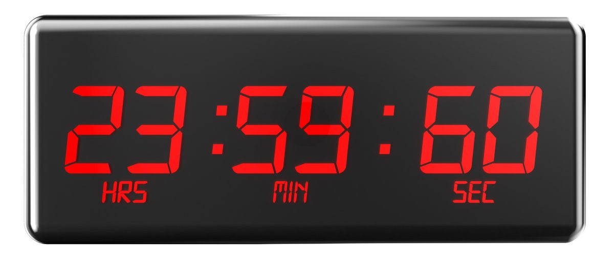 leap second concept isolated on white background (Shuttesrtock/AlexLMX)
