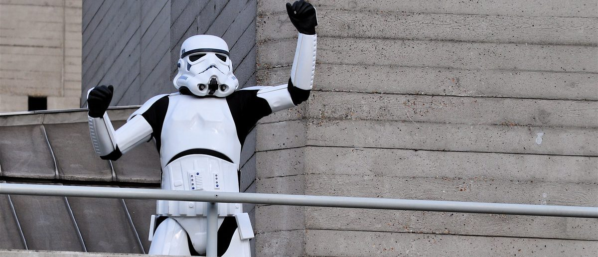 A Stormtrooper, the fictional character from Stars Wars, on a concrete balcony at the National Theatre, (Ron Ellis / Shutterstock.com)