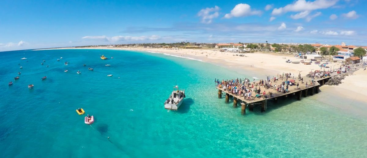 An aerial view of a beach in Cabo Verde. Source: Shutterstock/ Samuel Borges Photography