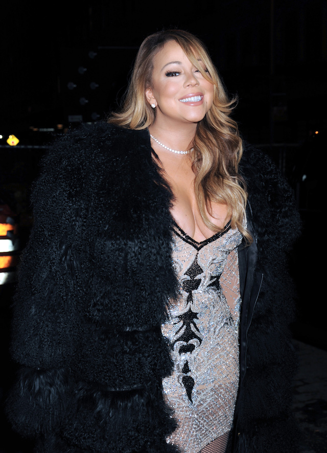 Mariah Carey arrives for the Mariah's World on E! Launch Party in New York City. (Photo: Splash News)