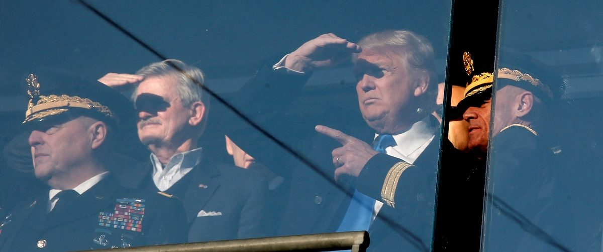 U.S. President-elect Donald Trump stands with General Mark A. Milley, Chief of Staff of the United States Army and Lieutenant General Robert L. Caslen, Superintendent of the United States Military Accedemy at West Point as he watches the Army vs Navy col