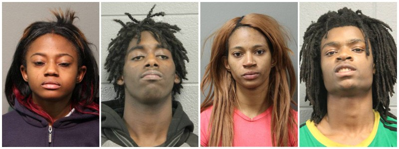 A combination photo shows four people charged with felonies for the beating of a man with mental health issues, L-R: Brittany Covington, 18, Jordan Hill, 18, Tanishia Covington, 24, and Tesfaye Cooper, 18, shown in Chicago Police Department photos released in Chicago, Illinois, U.S. January 5, 2017.    Courtesy Chicago Police Department/Handout via REUTERS