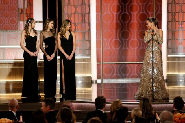 Miss Golden Globes, Sophia, Sistine, and Scarlett Stallone (L-R) present with Sofia Vergara during the 74th Annual Golden Globe Awards show in Beverly Hills, California, U.S., January 8, 2017. Paul Drinkwater/Courtesy of NBC/Handout via REUTERS
