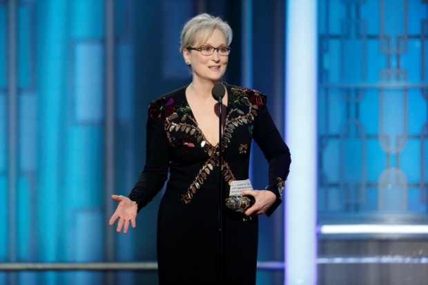Actress Meryl Streep accepts the Cecil B. DeMille Award during the 74th Annual Golden Globe Awards show in Beverly Hills, California, U.S., January 8, 2017. Paul Drinkwater/Courtesy of NBC/Handout via REUTERS