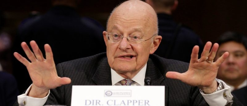 """Director of National Intelligence (DNI) James Clapper testifies to the Senate Select Committee on Intelligence hearing on """"Russia's intelligence activities"""" on Capitol Hill in Washington, U.S. January 10, 2017. REUTERS/Joshua Roberts"""