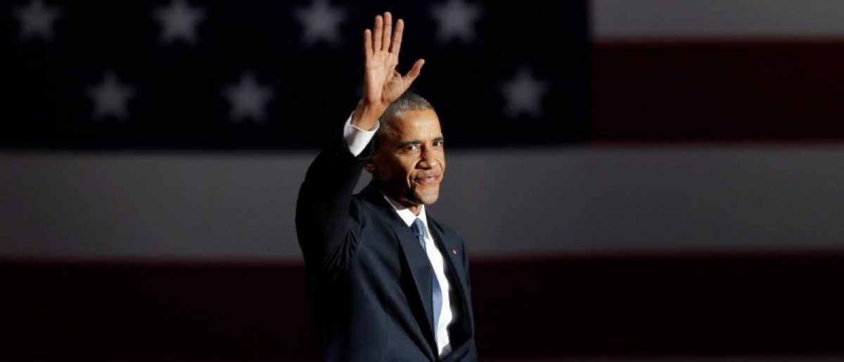 President Barack Obama acknowledges the crowd as he arrives to deliver his farewell address in Chicago, Illinois. REUTERS/John Gress