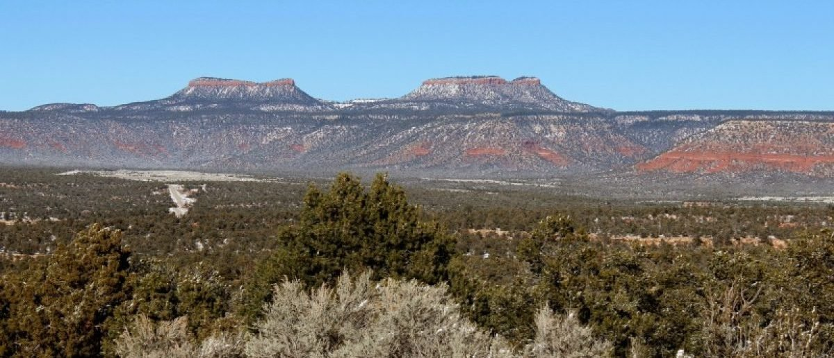 Bears Ears, the twin rock formations in Utah's Four Corners region is pictured in Utah
