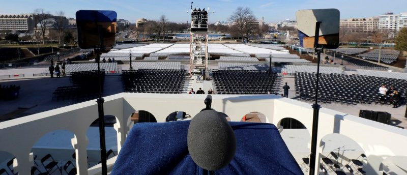 President-elect Trump's view from his podium is seen during a dress rehearsal on the West Front of the U.S. Capitol in Washington