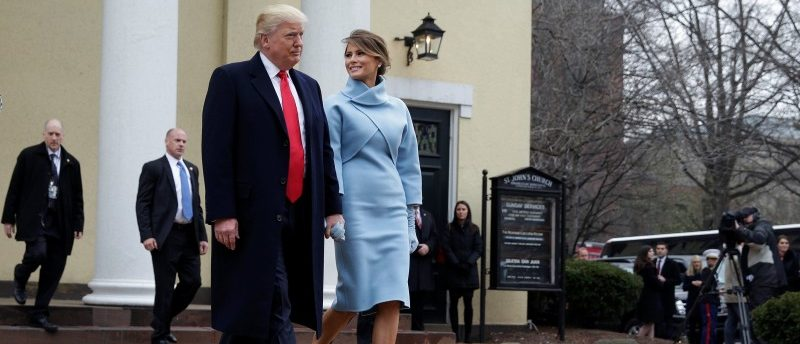 President-elect Donald Trump and his wife Melania depart from services at St. John's Church during his inauguration in Washington.