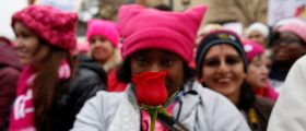 People gather for the Women's March in Washington. REUTERS/Shannon Stapleton