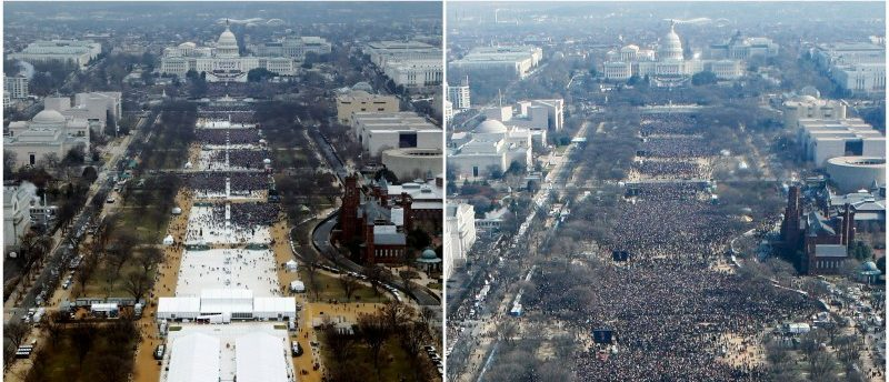 A combination of photos taken at the National Mall shows the crowds attending the inauguration ceremonies to swear in U.S. President Donald Trump at 12:01pm (L) on January 20, 2017 and President Barack Obama sometime between 12:07pm and 12:26pm on January 20, 2009, in Washington, U.S., REUTERS/Lucas Jackson (L), Stelios Varias/File Photo