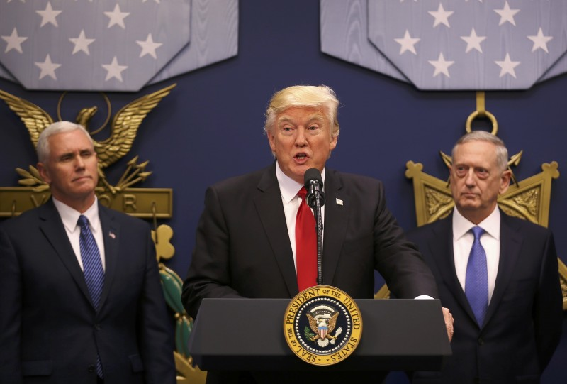 U.S. President Trump speaks at swearing-in ceremony for Defense Secretary Mattis at the Pentagon in Washington
