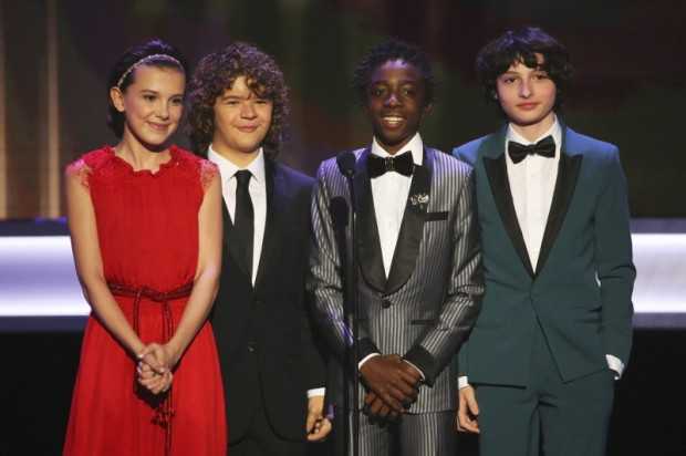 -R) Presenters Millie Bobby Brown, Gaten Matarazzo, Caleb McLaughlin and Finn Wolfhard appear onstage during the 23rd Screen Actors Guild Awards in Los Angeles, California, U.S., January 29, 2017. REUTERS/Mike Blake
