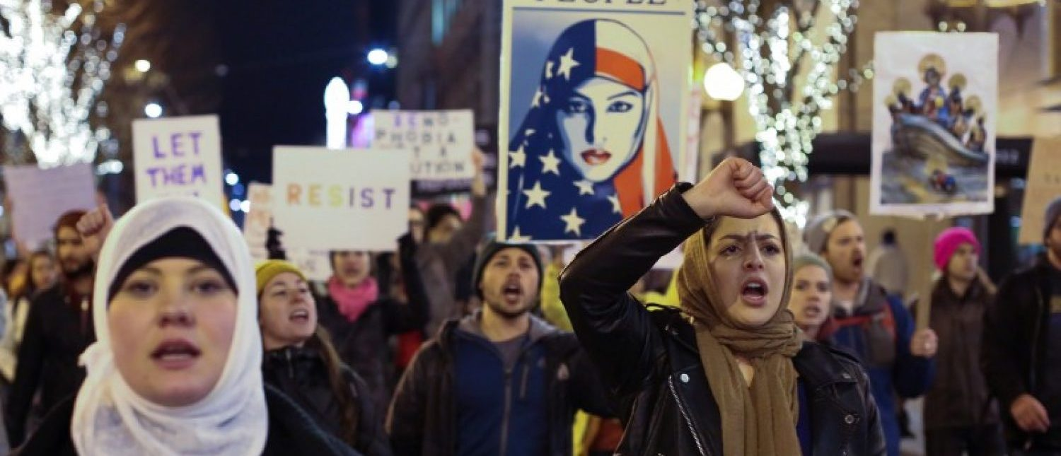 People march through downtown Seattle during a protest held in response to President Donald Trump's travel ban, in Seattle, Washington, U.S. January 29, 2017.  REUTERS/David Ryder
