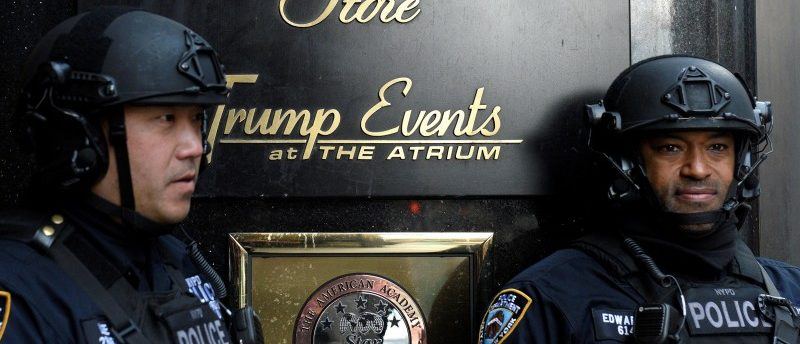 FILE PHOTO -- Heavily armed New York City Police (NYPD) officers stand guard in front of Trump Tower where Republican president-elect Donald Trump lives in the Manhattan borough of New York, U.S., November 27, 2016. REUTERS/Darren Ornitz/File Photo