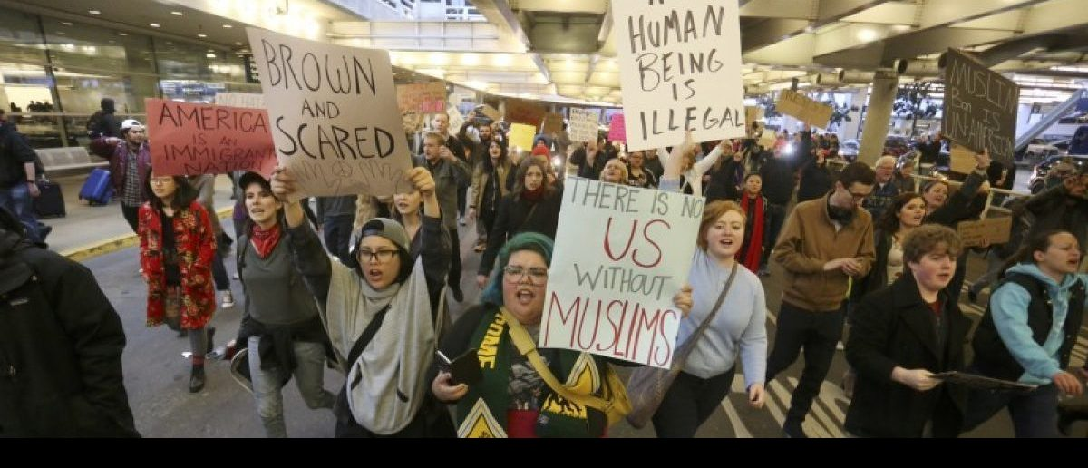 Activists gather at Portland International Airport to protest against President Donald Trump's executive action travel ban in Portland, Oregon, January 29, 2017. REUTERS/Steve Dipaola