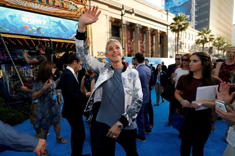"FILE PHOTO - Cast member Ellen DeGeneres waves at the premiere of ""Finding Dory"" at El Capitan theatre in Hollywood, California U.S. on June 8, 2016. REUTERS/Mario Anzuoni/File Photo"