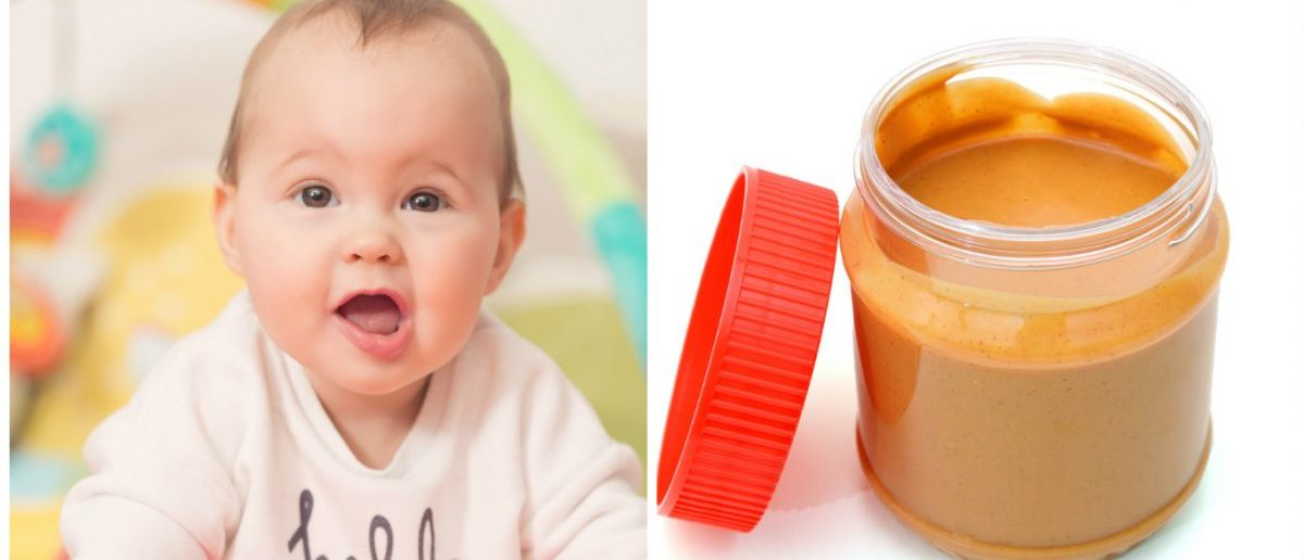 Left: Eight months old baby girl on a floor mat smiling at the camera. [Shutterstock - DeymosHR] Right: A jar of peanut butter. [Shutterstock - Hong Vo]