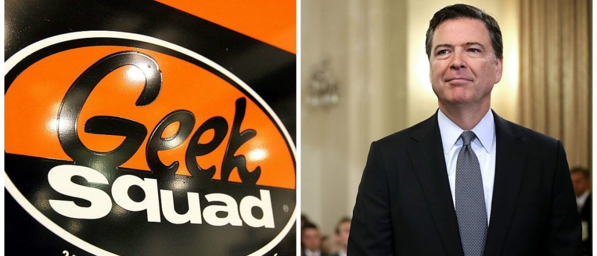 Left: A 'Geek Squad' sign hangs on a door to its computer repair facility in a Best Buy store June 6, 2006 in Niles, Illinois. (Photo by Tim Boyle/Getty Images) Right: FBI Director James Comey prepares to testify before the House Homeland Security Committee in the Canon House Office Building on Capitol Hill July 14, 2016 in Washington, DC. (Photo by Chip Somodevilla/Getty Images)