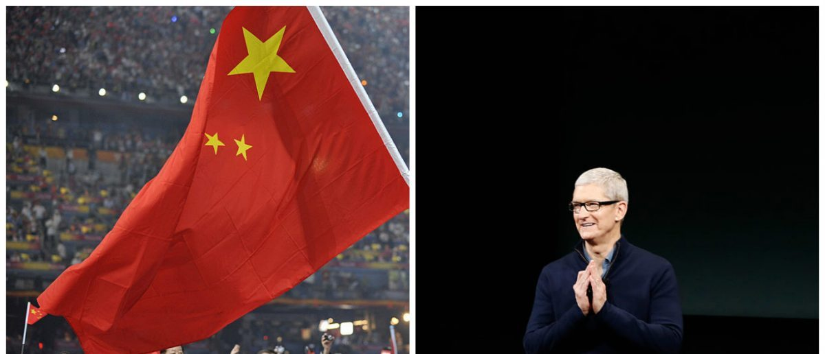 Left: The Chinese Flag at the opening ceremony of the 2008 Beijing Olympic Games (Photo credit: FABRICE COFFRINI/AFP/Getty Images) Right: Apple CEO Tim Cook speaks on stage during an Apple product launch event on October 27, 2016 in Cupertino, California. (Photo by Stephen Lam/Getty Images)