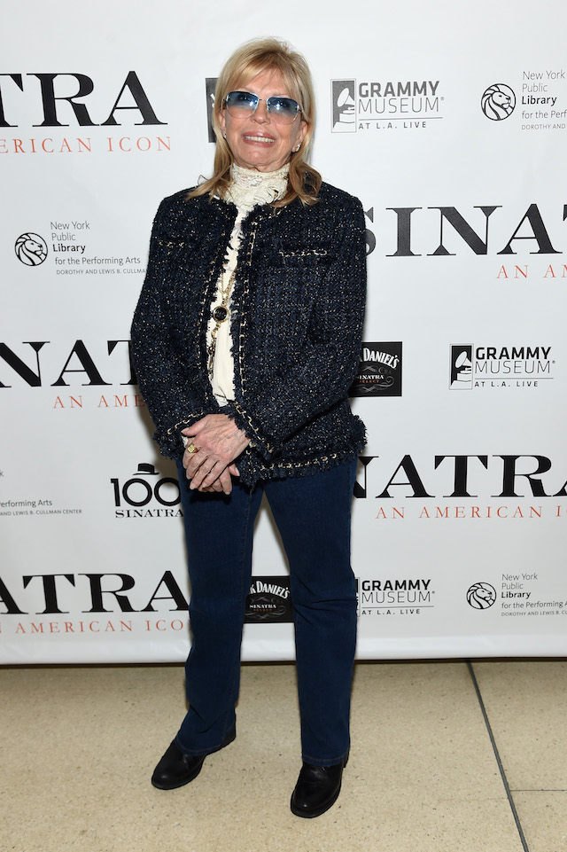 """NEW YORK, NY - MARCH 03: Nancy Sinatra attends Jack Daniel's Sinatra Select celebration of the Grammy Museum's """"Sinatra: An American Icon"""" at The New York Public Library of Performing Arts on March 3, 2015 in New York City. (Photo by Jamie McCarthy/Getty Images for Jack Daniel's)"""
