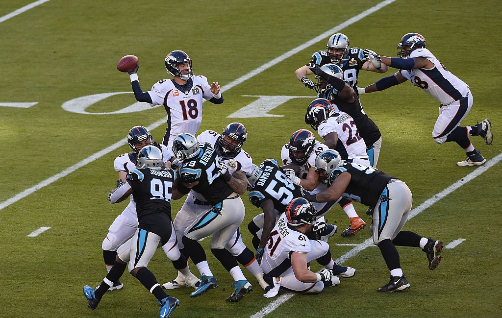 Quarterback Peyton Manning #18 of the Denver Broncos looks to pass against the Carolina Panthers during Super Bowl 50 at Levi's Stadium on February 7, 2016 in Santa Clara, California. (Photo by Thearon W. Henderson/Getty Images)