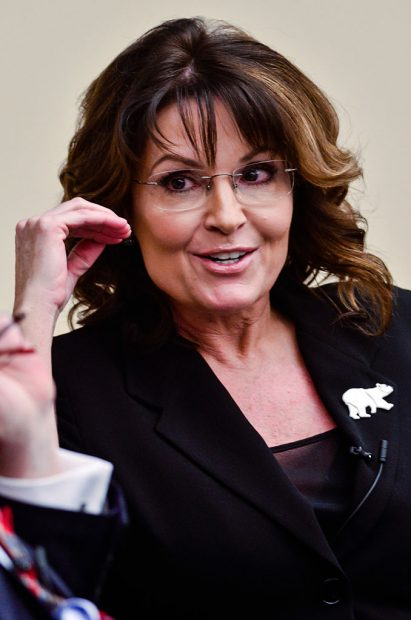 Former Governor Sarah Palin speaks during the 'Climate Hustle' panel discussion at the Rayburn House Office Building on April 14, 2016 in Washington, D.C. (Kris Connor/Getty Images)