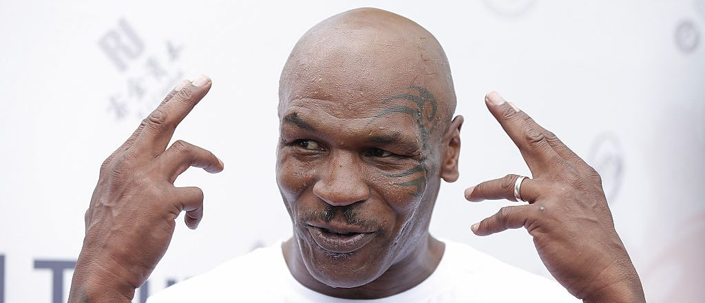 Former Heavy Weight Champion Boxer Mike Tyson attends the Great Wall Weigh-in of IBF World Boxing Championship Bout at Mutianyu on May 24, 2016 in Beijing, China. (Photo by Lintao Zhang/Getty Images)