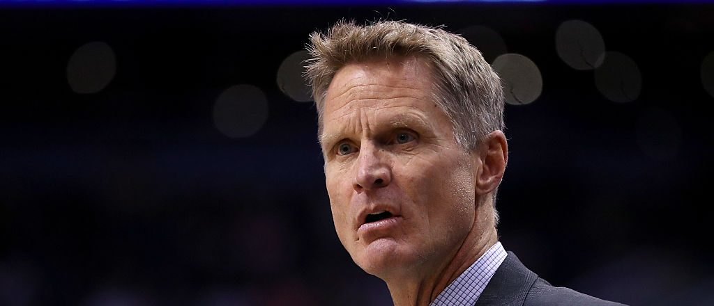 Head coach Steve Kerr of the Golden State Warriors reacts during the NBA game against the Phoenix Suns at Talking Stick Resort Arena on October 30, 2016 in Phoenix, Arizona. The Warriors defeated the Suns 106 -100. NOTE TO USER: User expressly acknowledges and agrees that, by downloading and or using this photograph, User is consenting to the terms and conditions of the Getty Images License Agreement. (Photo by Christian Petersen/Getty Images)