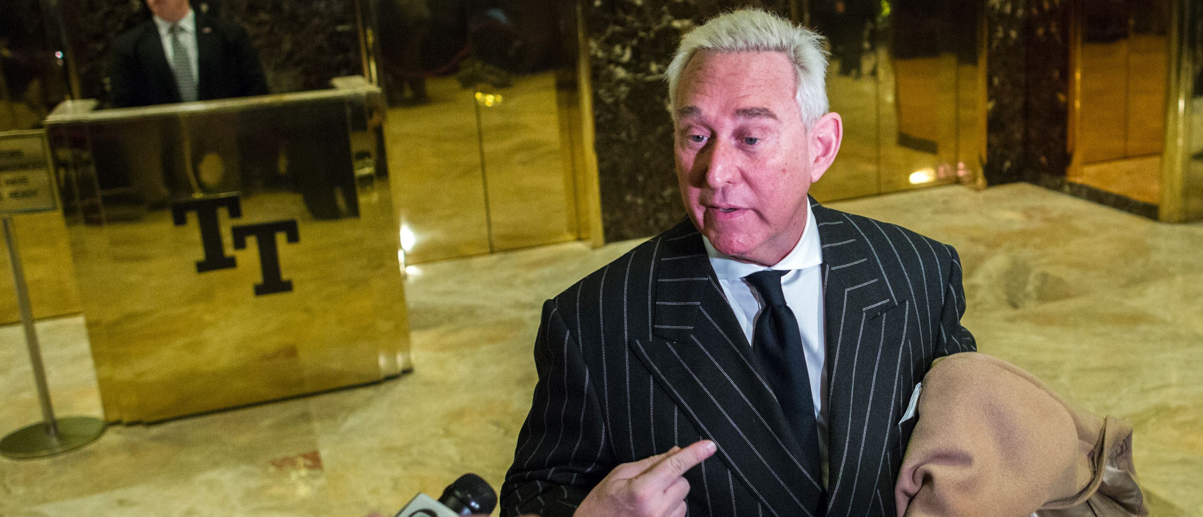 Political consultant Roger Stone speaks with media after meeting with US President-elect Donald Trump at Trump Tower on December 6, 2016 in New York. EDUARDO MUNOZ ALVAREZ/AFP/Getty Images
