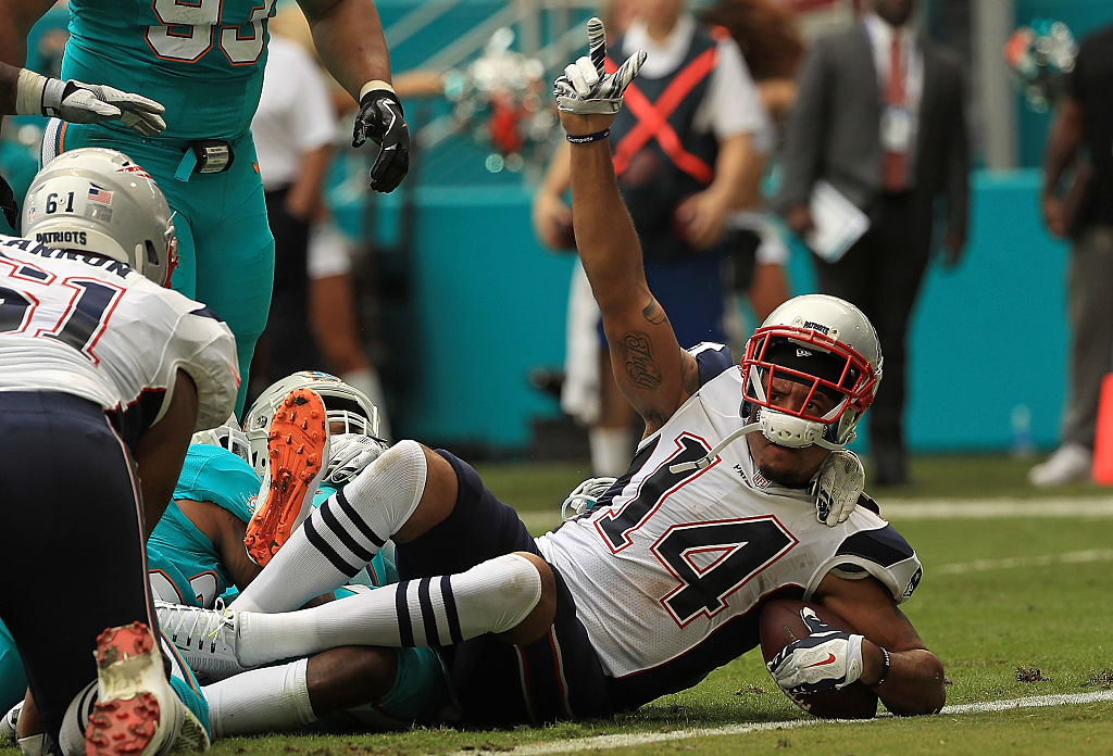 Michael Floyd #14 of the New England Patriots scores a touchdown during a game against the Miami Dolphins at Hard Rock Stadium on January 1, 2017 in Miami Gardens, Florida. (Photo by Mike Ehrmann/Getty Images)