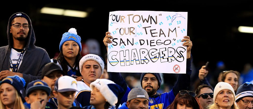 San Diego Chargers fans look on during the second half of a game against the Kansas City Chiefs at Qualcomm Stadium on January 1, 2017 in San Diego, California. (Photo by Sean M. Haffey/Getty Images)