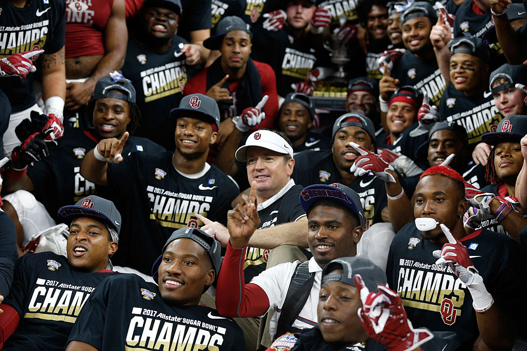 Head coach Bob Stoops of the Oklahoma Sooners celebrates after defeating the Auburn Tigers 35-10 during the Allstate Sugar Bowl at the Mercedes-Benz Superdome on January 2, 2017 in New Orleans, Louisiana. (Photo by Jonathan Bachman/Getty Images)