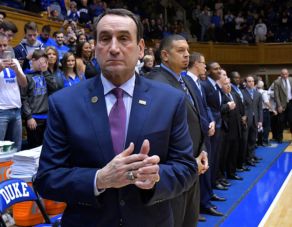 Head coach Mike Krzyzewski and asociate head coach Jeff Capel of the Duke Blue Devils watch their team during the game against the Georgia Tech Yellow Jackets at Cameron Indoor Stadium on January 4, 2017 in Durham, North Carolina. (Photo by Grant Halverson/Getty Images)