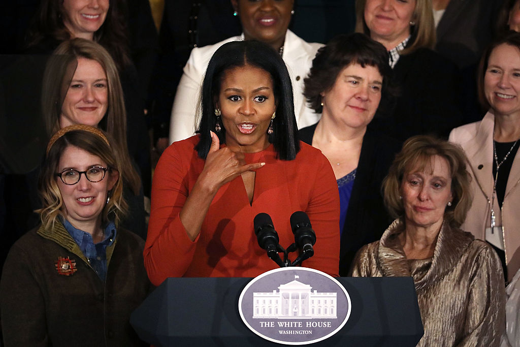 U.S. first lady Michelle Obama delivers remarks during a ceremony honoring the 2017 School Counselor of the Year in the East Room of the White House January 6, 2017 in Washington, DC. These were the last public remarks by the first lady during her husband Barack Obama's presidency. (Photo by Chip Somodevilla/Getty Images)