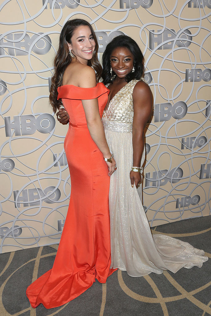 Gymnasts Aly Raisman and Simone Biles attend HBO's Official Golden Globe Awards After Party at Circa 55 Restaurant on January 8, 2017 in Beverly Hills, California. (Photo by Frederick M. Brown/Getty Images)